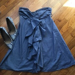 J. Crew Chambray Blue Gray Cotton Strapless Shift