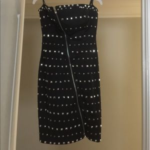 Black crystal and stud cocktail dress