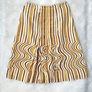 TORY BURCH Striped & Swirls Pleated Skirt Sz 2