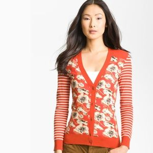 Tory Burch floral and striped cardigan