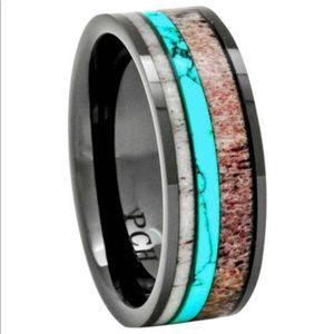 Men's Deer Antler Turquoise wedding band/ Ring