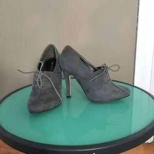Grey faux suade bootie heels
