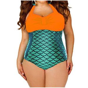 Trendy Orange Metallic One Piece Mermaid Swimsuit