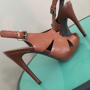 Light brown Leather sling back pumps