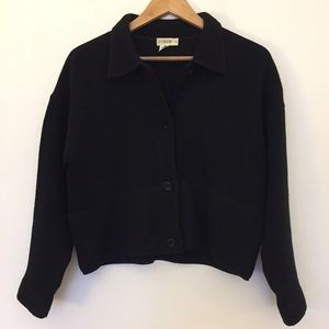 Black button up crop wool cardigan sweater jacket