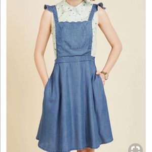 Denim Jumper Pinafore Dress Skirt Retro L