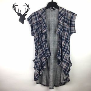 Urban Outfitters BDG Plaid Short Sleeve T Cardigan