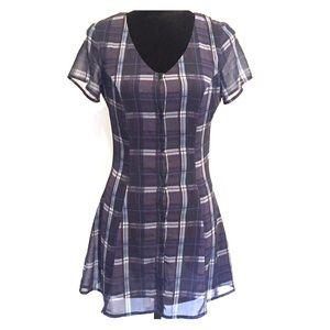 H&M Dresses - H&M Blue Plaid Mini Dress Size 4 Never Worn