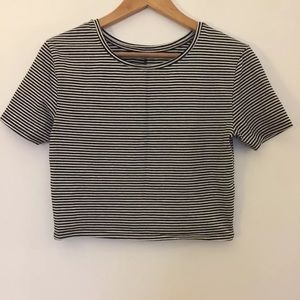 Black white pinstripe Knit Stretch short crop top