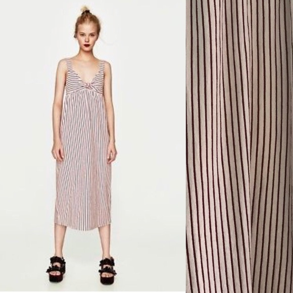 72193e9070 Zara Trafaluc Striped Midi Dress Size M. M 59eb5c504e95a394cf03a6f0
