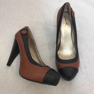 Qupid Brown & Black Heels