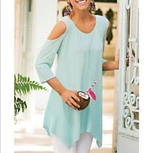 Soft surroundings cold shoulder pink XL top
