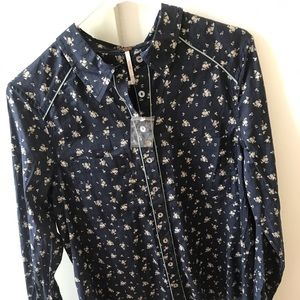 Free people button up floral shirt medium
