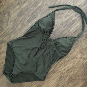 Massimo Olive Green One Piece Bathing Suit SZ S