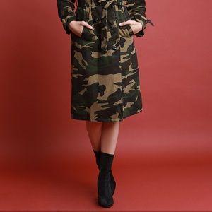 Jackets & Blazers - Camouflage Waist Sash Trench Coat