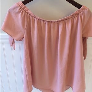 Blush off the shoulder tie sleeve top
