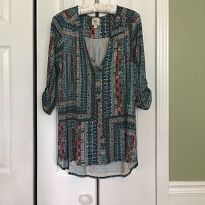 Anthropologie patterned jersey top. Size S