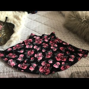 Black and Pink Flower Skirt Size XS