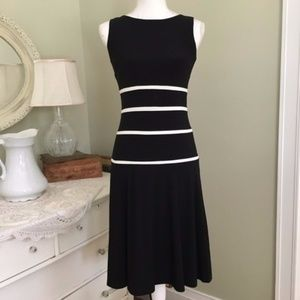 NWT Ralph Lauren Black White Drop Waist Dress