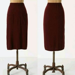 Anthropologie Gamay Sweater Skirt Size S, Wine Red