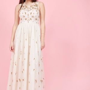 Modcloth The Simple Truth Floral Beaded Maxi Dress