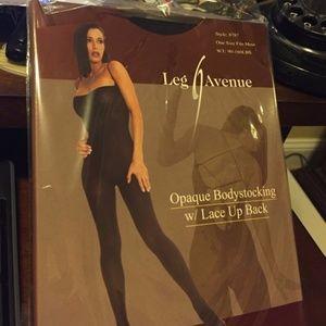 Leg avenue opaque black bodystocking lace up back