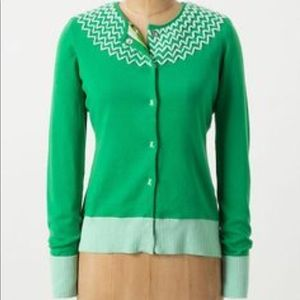Tabitha -Green & blue snap button closure cardigan