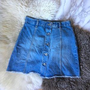 Forever 21 Frayed Button Up Denim Skirt