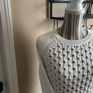 BR Size S NWT Mesh Pocket Top Sweater White