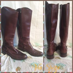 Via Spiga brown leather tall boots
