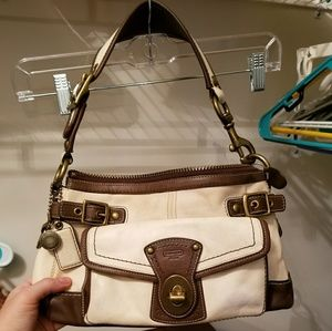 Rare Ivory and Brown Spectator Legacy Coach Bag.