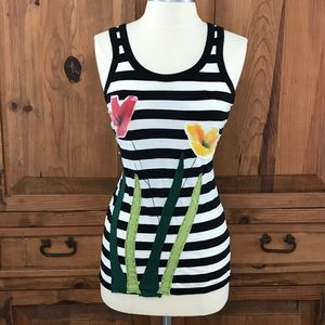 Anthropologie black & white striped tank