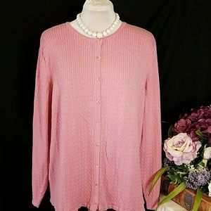 KAREN SCOTT Pretty pink long sleeve cardigan