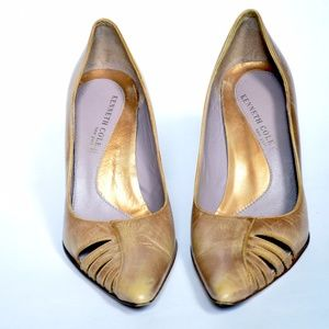 Kenneth Cole worn in gold leather heel
