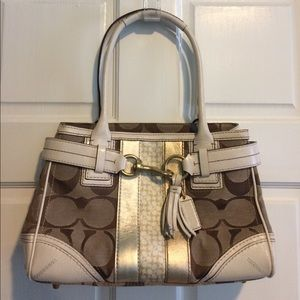 Coach gold logo satchel