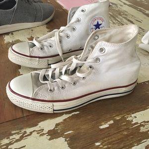 White, high top, converse size 7