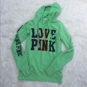 PINK Victoria's Secret Bright Green Hoodie