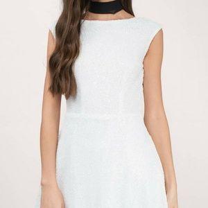 Tobi white glitter backless skater dress