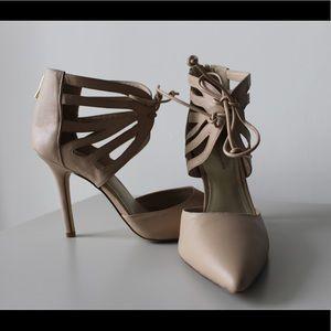 Strappy Zip Up Nude Pink Heels