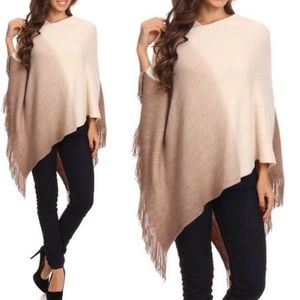 Sweaters - NWT Ombre Asymmetrical Fringe Poncho