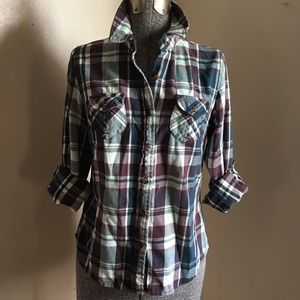 The North Face Small Teal and Purple Flannel