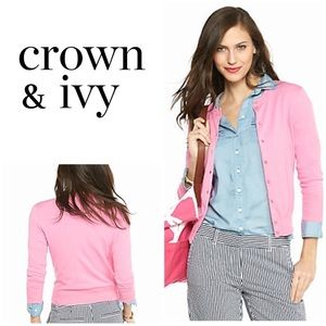 Crown & Ivy Pink Cardigan Sweater New w/ tags