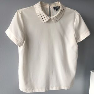 Topshop cream blouse with gold collar detail