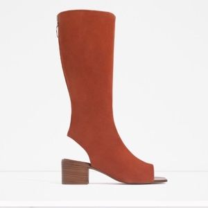 Zara Brick Leather Ankle Sandals Tall Boots 11M