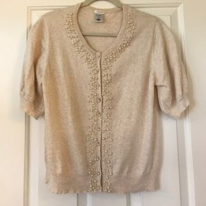 XL Angora Cardigan with faux pearl details
