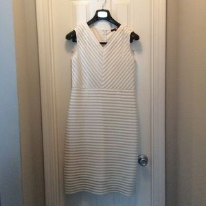 White sheath ribbed Dress