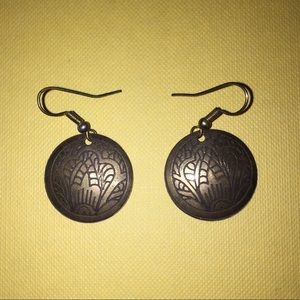 Traditional imprinted Palestinian art earrings