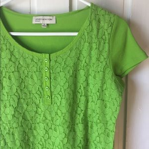 Jones New York Sport Lime Green Lace Top