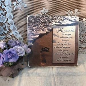 Footprints In The Sand Christian Jesus Wall Sign
