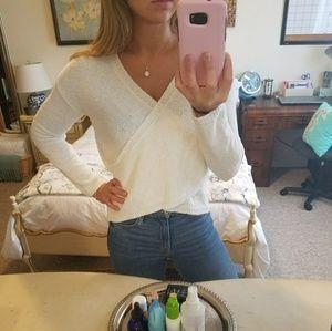 Nordstrom Cream Sherpa Crossover Sweater
